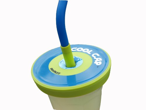 Spill resistant cap fits many cups! BPA-Free silicone stretches to create a tumbler out of almost any cup. Great for juicer or blender fans. 2-Pack Blue