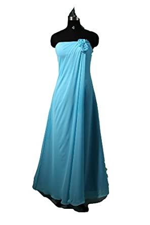 Winey Bridal Chiffon Blue Flower Long Cheap Bridesmaid Dresses (0)