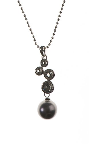 Silver Black Diamond Colour Cubic Zirconia & Grey Simulated Pearl Pendant & 18 Inches Chain
