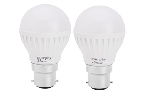 Murphy 2.5 W B22 LED Bulb (White, Pack of 2)