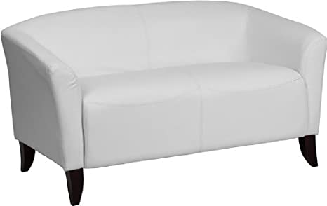 Offex Hercules Imperial Series Leather Love Seat, White
