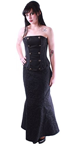 Black Brocade Asymmetrical Corset Fishtail Gothic Steampunk Skirt. Sizes 6-16