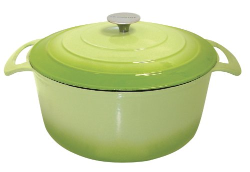 Le Cuistot Vieille France Enameled Cast-Iron 7.5 Quart Round Dutch Oven - 2 Tone Green