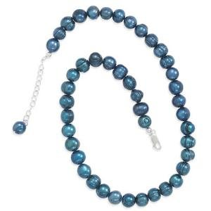 Teal Pearl Necklace Cultured Freshwater Pearls 8mm to 11mm Pearls Adjustable Length