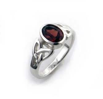 Sterling Silver Celtic Knot and Genuine Red Garnet Ring Size 5(Sizes 4,5,6,7,8,9,10,11,12) (Sterling Silver Garnet Ring compare prices)