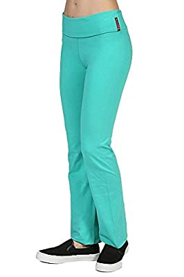 Fold Over Waist Fitness Gym Flared Leg Cotton Spandex Yoga Pants