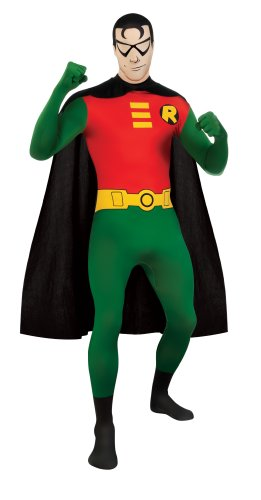 DC Comics Adult Robin 2nd Skin Zentai Super Suit, Green/Red - M, L or XL