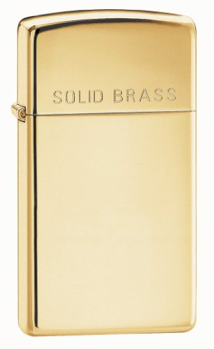 Zippo Slim High Polish Brass Lighter with Solid Brass Engraved