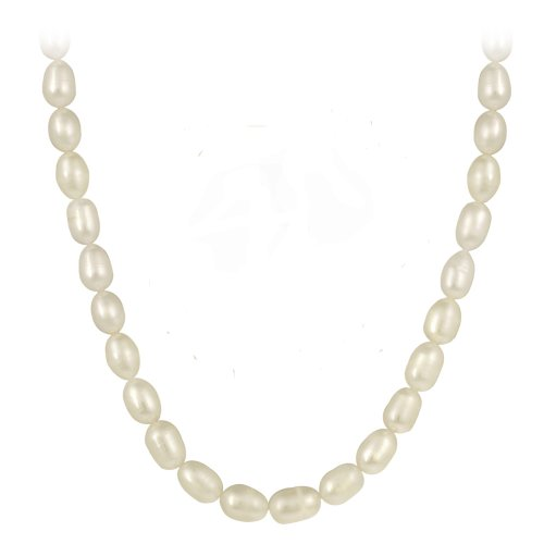 Genuine Freshwater Cultured 8x10mm White Pearl Necklace, 60 Inches