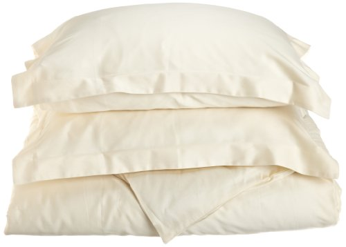 Impressions Genuine Egyptian Cotton 400 Thread Count Full/Queen 3-Piece Duvet Cover Set Solid, Ivory front-277849