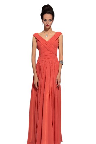 CharliesBridal V-Neck Floor Length Formal Dress - XL - Orange