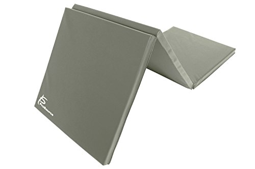 ProSource Tri-Fold Folding Thick Exercise Mat 6'x2' with Carrying Handles for MMA, Gymnastics Core Workouts, Grey