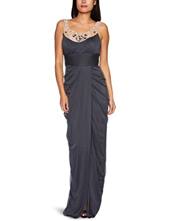 Adrianna Papell Women's Long Goddess Gown With Embellishment, Charcoal, 6