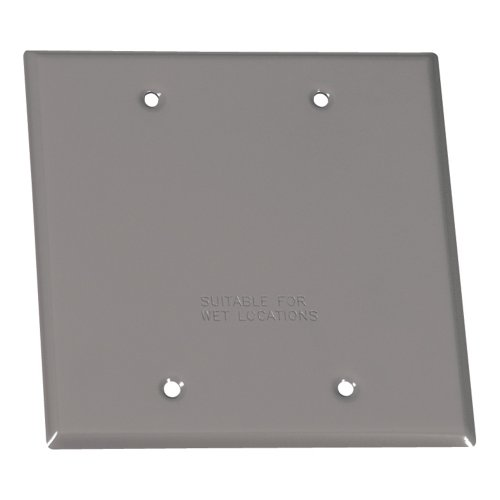 Sigma Electric 14340 2-Gang Rectangular Stamped Cover,  Grey