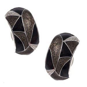 Edmonda Silver Black Grey Clip On Earrings