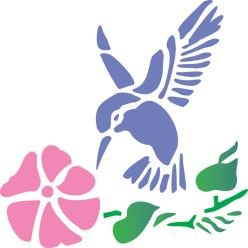 Tattoo Stencil - Hummingbird and Flower - #1
