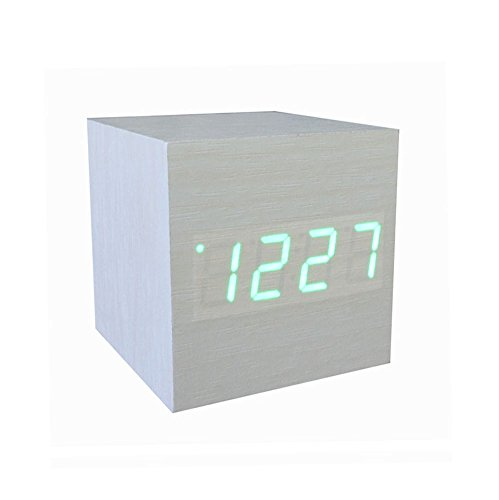Amars(Tm) Ultra-Simple Fashion Wooden Rechargeable Alarm Clock With Usb Large Display With Temperature Date Sound Control Cube Shape 9501