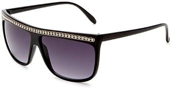 Fantas-Eyes Women's Skyline Oversized Sunglasses,Black Frame/Smoke Gradient Lens,one size