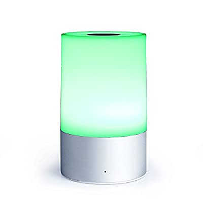 Bedside Lamp, Touch Sensor Table Lamp, Dimmable Warm White Light, RGB Color Changing Smart LED Atmosphere Lamps