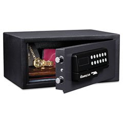 * Electronic Lock/Card Swipe Security Safe, 0.4 ft3, 15w x 11d x 7h, Bla