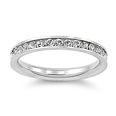 Stainless Steel Eternity Cz Wedding Band Ring