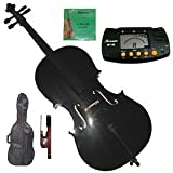 Merano 4/4 (Full) Size Black Cello with Bag and Bow + Extra Set of Strings+Metro Tuner+Bridge+Rosin