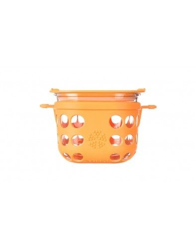 Lifefactory 2-Cup BPA-Free Glass Food Storage & Bakeware with Protective Silicone Sleeve & Lid, Orange