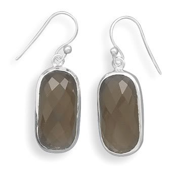 Faceted Smoky Quartz French Wire Earrings