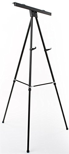 Displays2go Aluminum Flip-Chart Presentation Easel, 37.5-69 Inch Height-Adjustable Tripod with Telescoping Legs - Black (EASEL3769B) (Adjustable Height Chart compare prices)