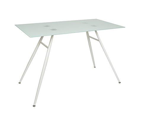 ts-ideen Tavolino da studio in vetro 6mm per computer/laptop con telaio in metallo bianco