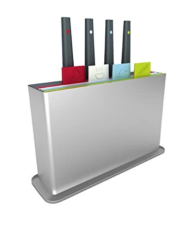 Joseph Joseph Index Chopping Board Set with 4 Knives, Silver
