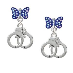 Silver Handcuffs Blue Sapphire Crystal Butterfly Lulu Post Earrings [Jewelry]