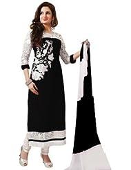 RND Creation Black Color Rakhi Special Georgette Semi-Stitched Salwar Suit