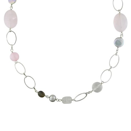 Silvertone Brass Multi-gemstone Bead and Grey Pearl Necklace (9-13 mm)