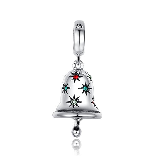Glamulet Jewelry 925 Sterling Silver Colorful Christmas Jingle Bell Dangle Charm Fits Pandora Bracelet