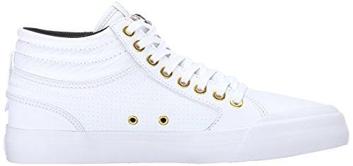 DC Evan HI Skate Shoe, White/Gold, 8.5 M US