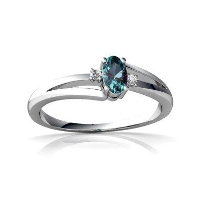 Created Alexandrite 14ct White Gold Ring