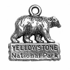 Sterling Silver 3D Bear Yellowstone National Park Vacation Travel Tour Charm With Hollow Backside