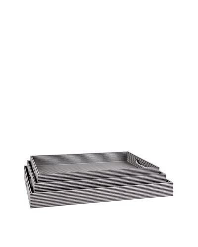 Home Essentials Set of 3 Blue Ticking Trays As You See