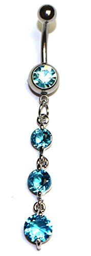 Hypoallergenic Surgical Steel Rhodium Plated Dangle Round Diamound shaped belly ring With Light Blue Cubic Zirconia Stones (Belly Rings Light Blue compare prices)
