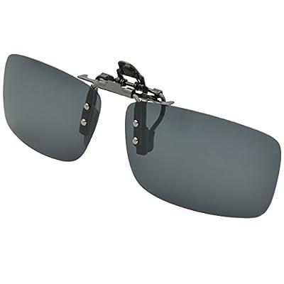 Besgoods Polarized Clip-on Flip up Metal Clip Sunglasses Lenses Glasses Unbreakable Driving Fishing Outdoor Sport New-Black Brown Dark Green