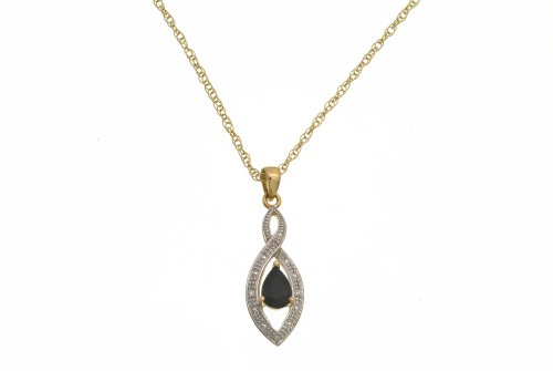 9ct Yellow Gold Diamond and Sapphire Ladies' Pendant and 41cm Chain