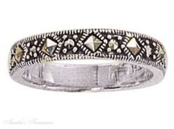 Sterling Silver Diamond Shape Marcasite Ring Size 5