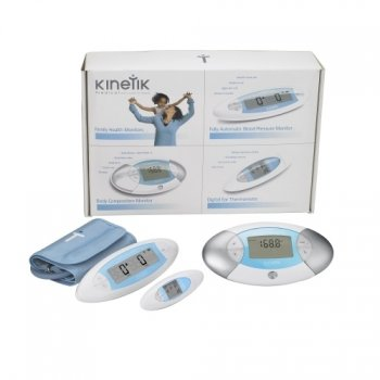 Kinetik Family Monitor Pack Upper Arm Automatic Blood Pressure Monitor, Digital Ear Thermometer and Stepometer