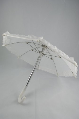 "Unique Doll Clothing White Doll Umbrella for 18"" Dolls Including the American Girl Line"