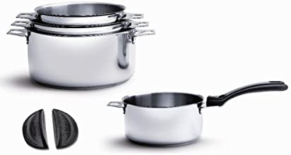 De Buyer 3491.04 'Twisty' Lot de 4 Casseroles-Faitouts en Inox avec Fond Sandwich - Diamètre 14/16/18/20 cm + 1 Queue Noire + 1 Paire de Clips Silicone Noirs