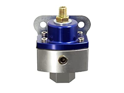 "Top Street Performance JM1057BL 3/8"" NPT Blue/Clear Anodized Billet Fuel Pressure Regulator (5-12 PSI)"