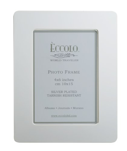 Eccolo World Traveler Kensington Silver Plated Frame, Holds a 4 x 6-Inch Photo