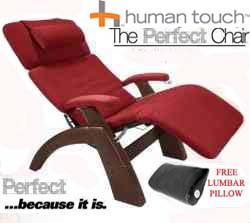 The Human Touch Power Electric Perfect Chair Recliner - PC95 / PC-095 Dark Walnut Recline Wood Base Garnett Red MicroSuede Pads - Interactive Health Zero Anti Gravity Chair