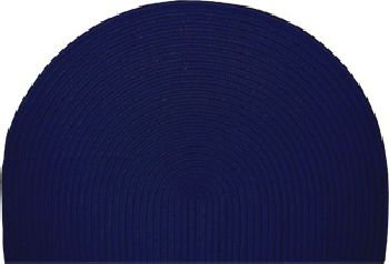 46'' x 31'' Half-Round Braided Polypropylene Hearth Rug - Navy Solid Color Braided